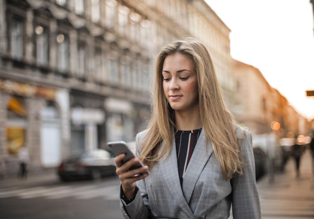 woman phone smart poster technology